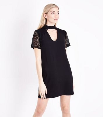 lace sleeve choker t shirt dress