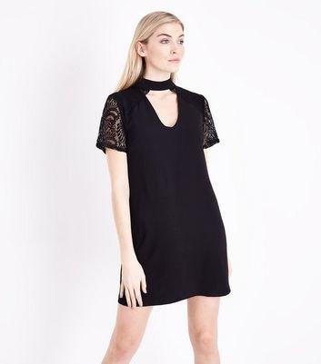 lace sleeve choker t shirt dress
