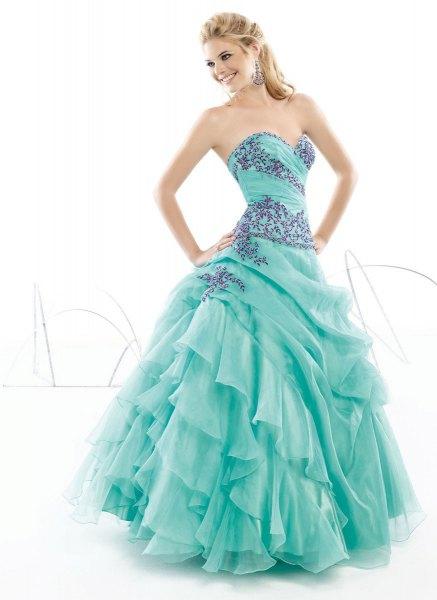 lake blue sweetheart neckline ruffle maxi dress