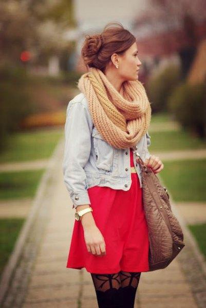 light green crochet scarf denim jacket red dress