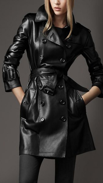 long leather trench coat stockings ankle boots