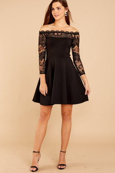 long sleeve black lace fit and flare dress