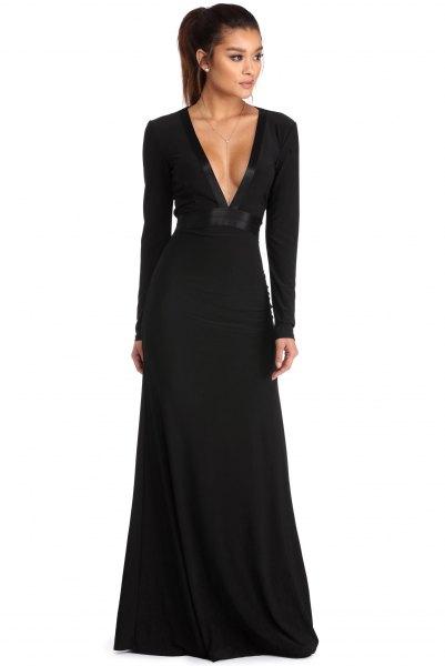 long sleeve deep v neck a line dress