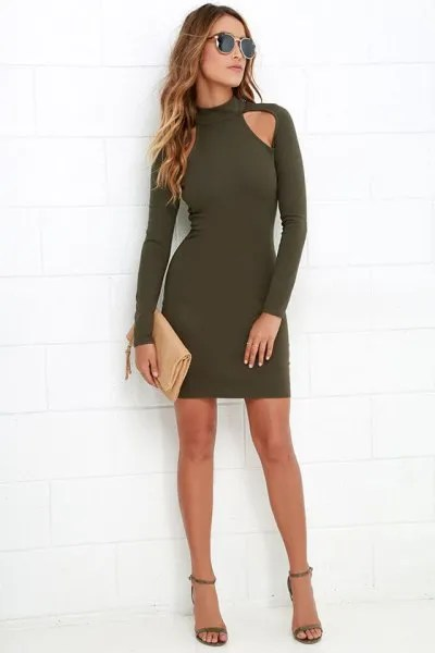 long sleeve green bodycon dress cutouts on shoulders