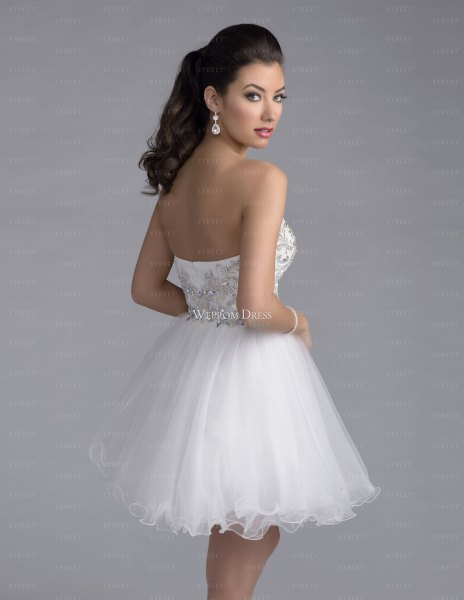 low back strapless white tulle dress
