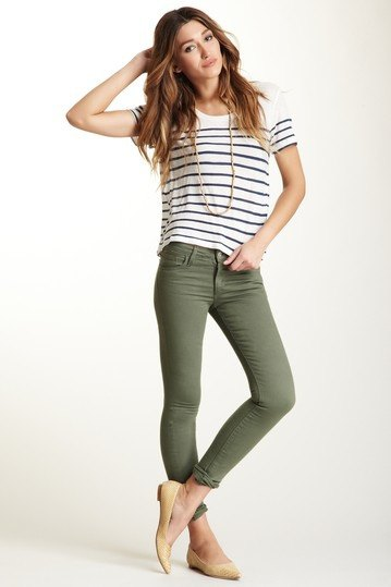 57a3f8f4f02a Navy and White Striped Tee with Olive Green Skinny Jeans