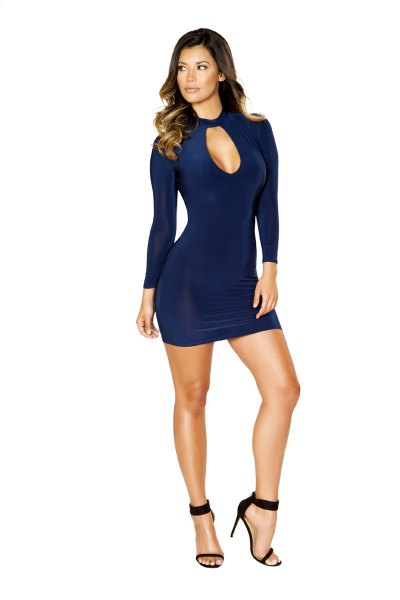 navy choker bodycon mini dress