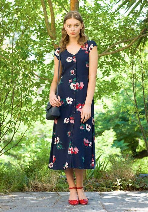 navy floral dress button down