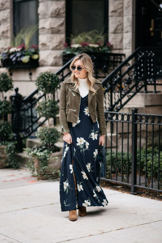 navy floral dress layered