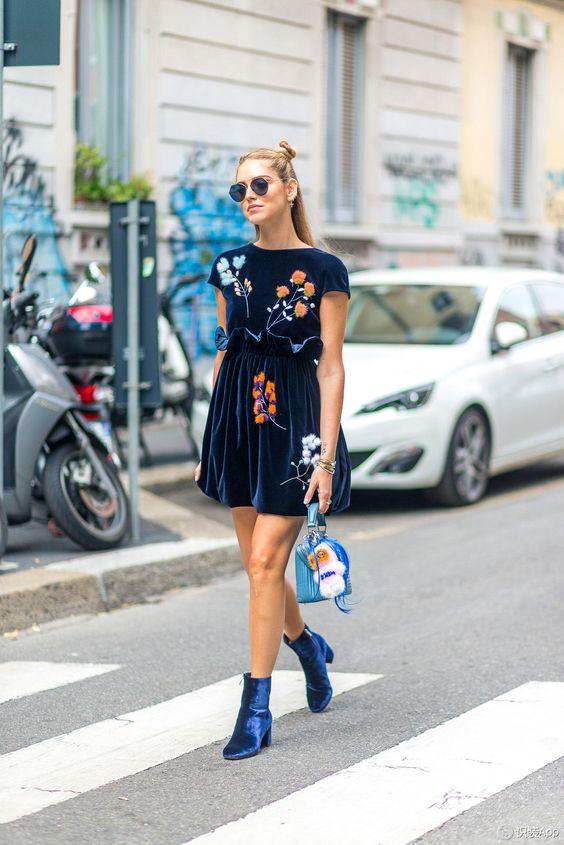 navy floral dress velvet