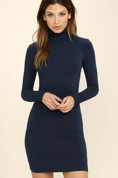 navy high neck long sleeve bodycon dress
