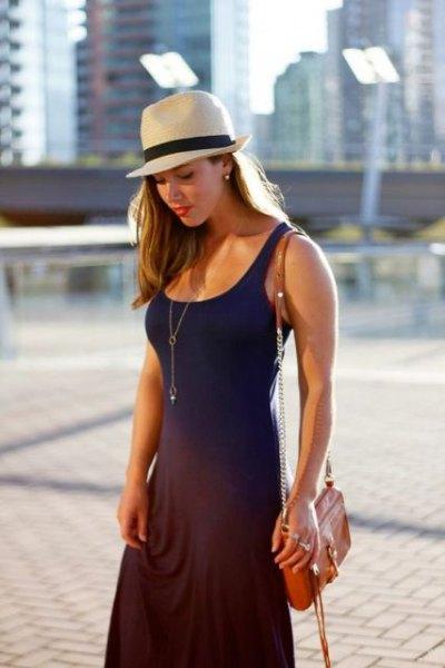 navy sleeveless fit and flare maxi dress