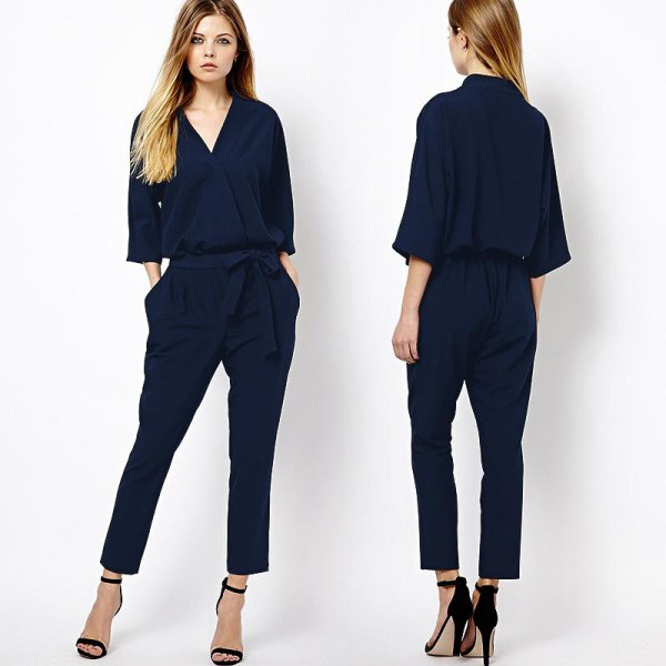 navy three quarter sleeve jumpsuit black open toe heels