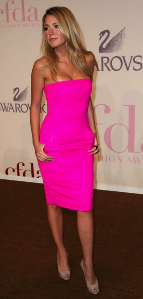 neon pink bodycon tube dress