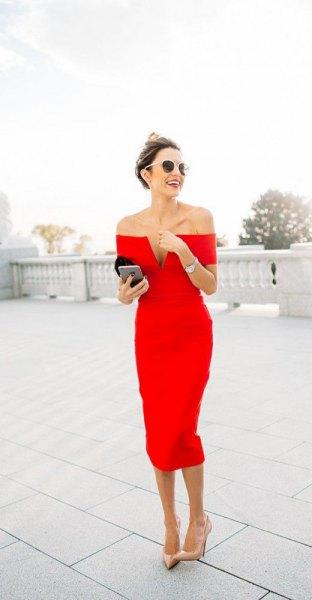 off the shoulder deep v neck midi dress