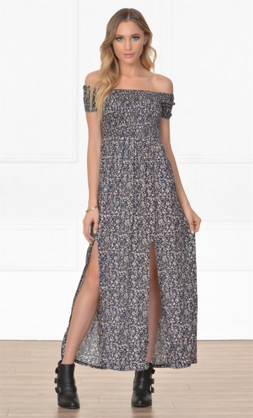 off the shoulder maxi dress ankle boots