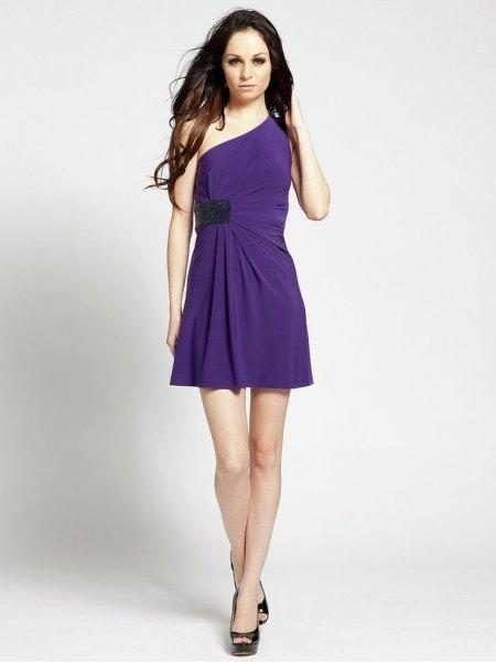 one shoulder faux wrap dress