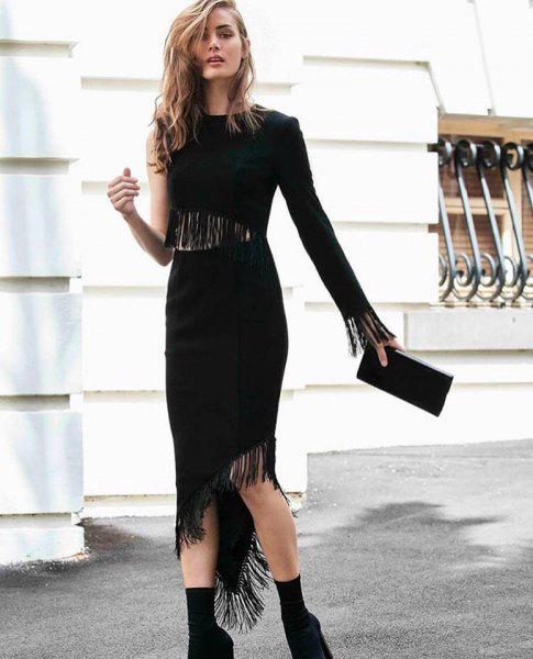one sleeve asymmetric flapper midi dress