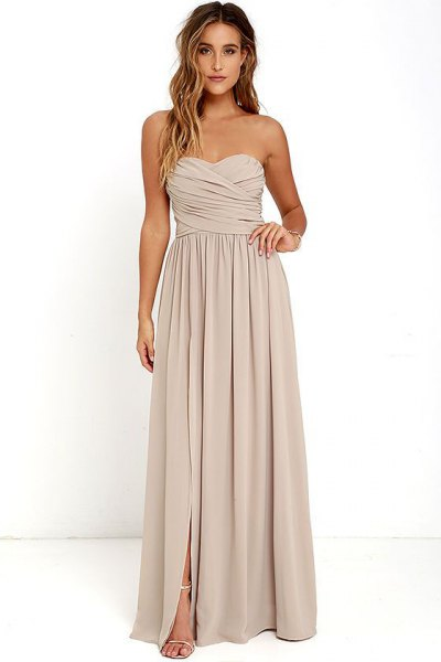 pale pink sweetheart pleated maxi dress