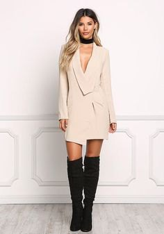 pale pink tuxedo dress over the knee boots