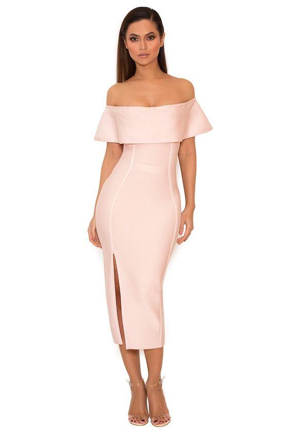 pink bandage dress off the shoulders