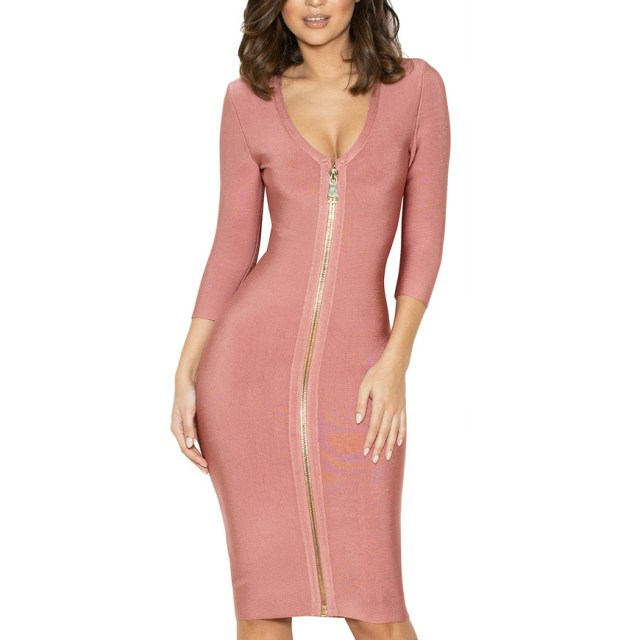 pink bandage dress zipped