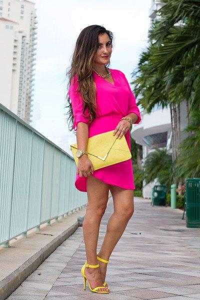 pink gathered waist mini dress yellow clutch bag
