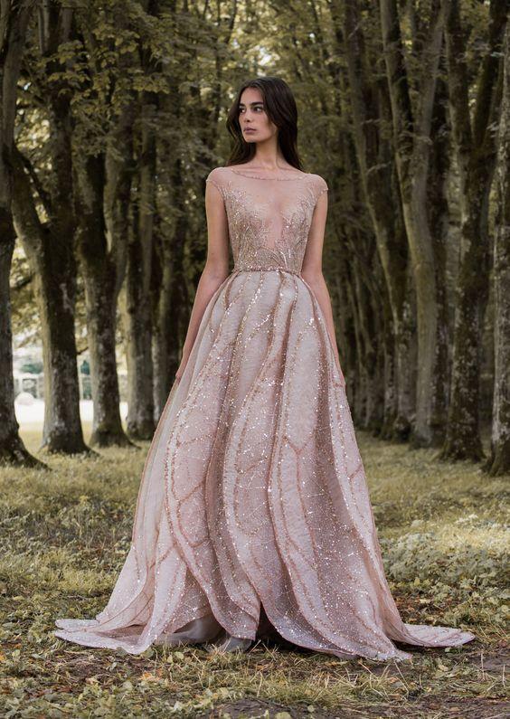 pink gold dress weddings