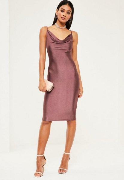Satin Cowl Dress