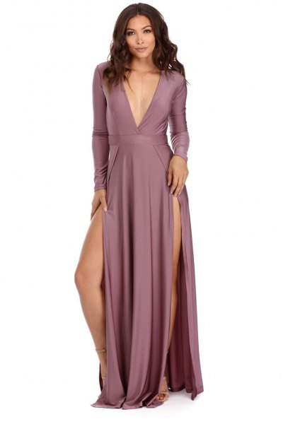 purple deep v neck maxi dress