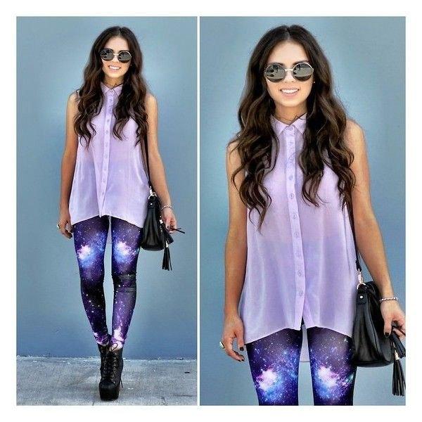 purple galaxy leggings white chiffon sleeveless shirt
