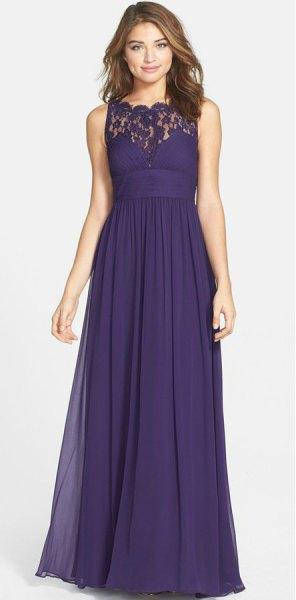 purple lace collar maxi dress