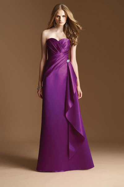 purple satin wrap bridesmaid dress