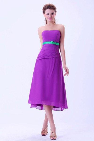 purple strapless belted midi bridesmaid dress