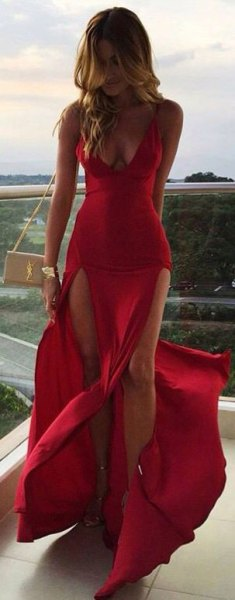 red chiffon deep v neck long flowy dress