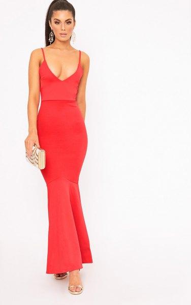 red deep v neck fishtail maxi dress