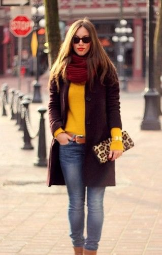 red infinity scarf yellow sweater black leather jacket