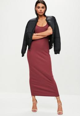red maxi dress black bomber jacket