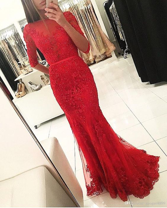 red mermaid dress lace sleeve