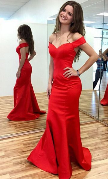 red mermaid dress off the shoulder
