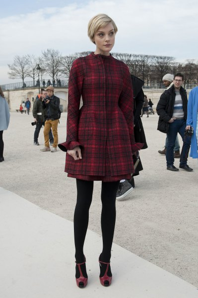 red plaid flare mini dress black leggings heels
