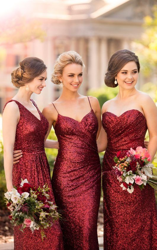 red sequin dress bridesmaid