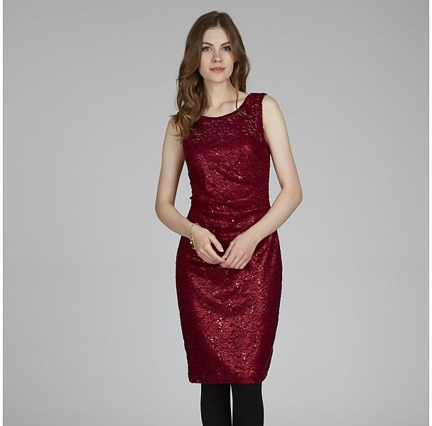 red sequin sheath dress lace element