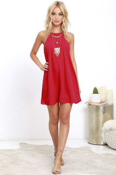 red shift dress boho style statement necklace