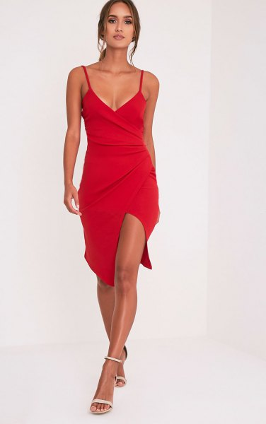 red spaghetti strap deep v neck wrap dress