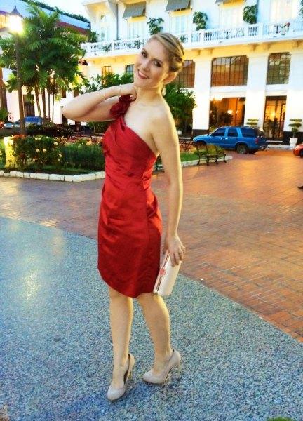 red strapless silk cocktail dress