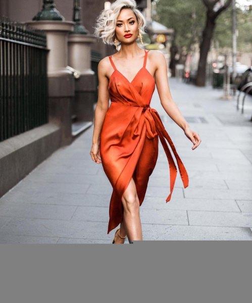 red sweetheart neckline wrap maxi dress
