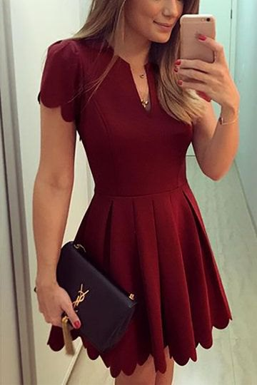 red v neck pleated flare dress