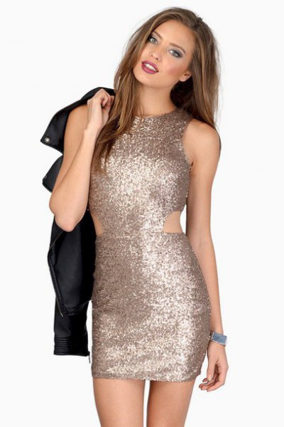 rose gold bodycon dress tiny cutouts at waist