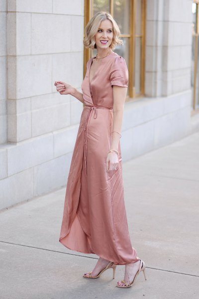 rose gold maxi satin wrap dress